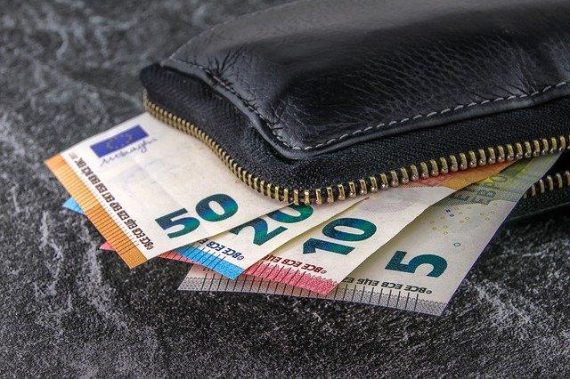 Billetera con cremallera, de la que sobresalen billetes de 50, 20, 10 y 5 euros.